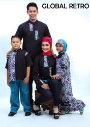 Sarimbit Keluarga Nurrin Global Retro Black Tunik