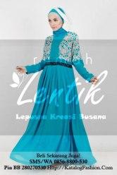 gamis-batik-modern-lentik-l70-biru-turqis