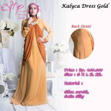 gamis modern kalyca  dress gold 400rb