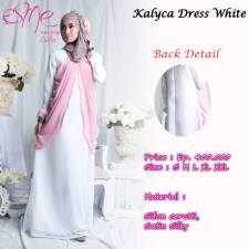 gamis modern kalyca  dress white 400rb